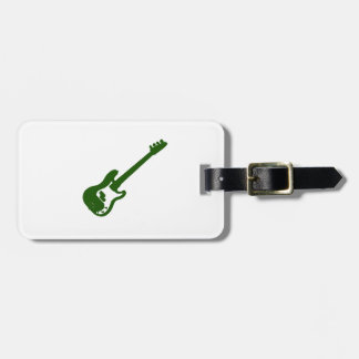 bass guitar slanted green graphic luggage tags