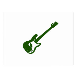 bass guitar slanted green graphic postcard