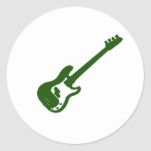 bass guitar slanted green graphic round stickers