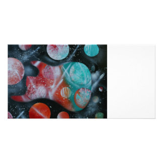 bass guitar teal planets spacepainting photo card template