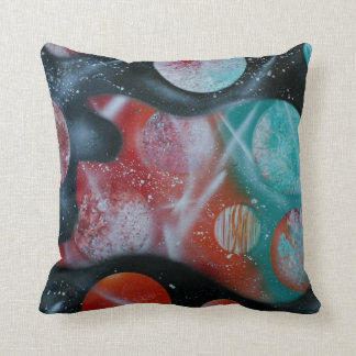 bass guitar teal planets spacepainting throw pillows