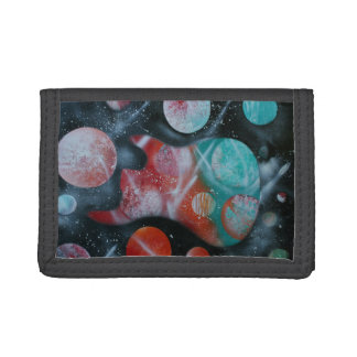 bass guitar teal planets spacepainting tri-fold wallet