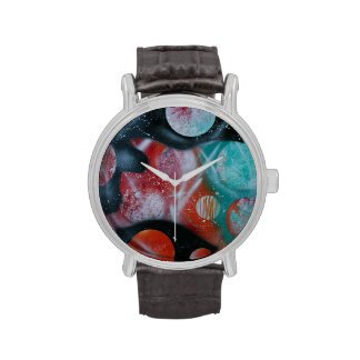 bass guitar teal planets spacepainting wristwatches