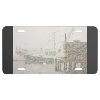 Bass Harbor in Heavy Snowstorm, Coast of Maine License Plate