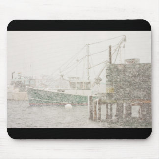 Bass Harbor in Heavy Snowstorm, Coast of Maine Mouse Pad