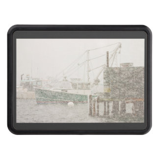 Bass Harbor in Heavy Snowstorm, Coast of Maine Trailer Hitch Cover