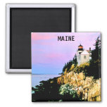 BASS HARBOR LIGHTHOUSE, MAINE 2 INCH SQUARE MAGNET