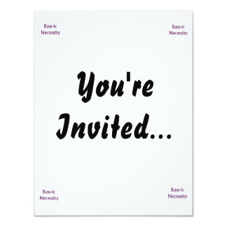 Bass-Ic necessity Purple text Bass Player Design 4.25x5.5 Paper Invitation Card