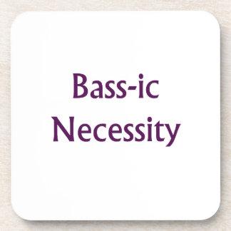 Bass-Ic necessity Purple text Bass Player Design Beverage Coaster