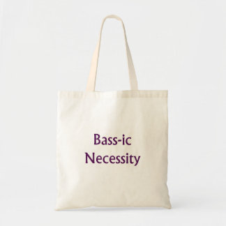 Bass-Ic necessity Purple text Bass Player Design Tote Bag