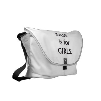 Bass is for girls black text messenger bags