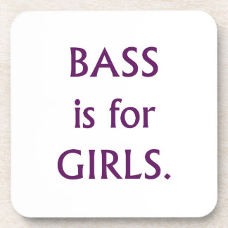 Bass is for girls purple text beverage coasters