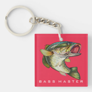 Bass Master Double-Sided Square Acrylic Keychain