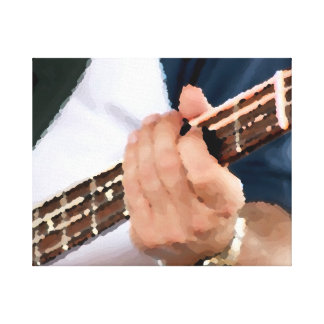 bass painterly player hand on neck male photograph stretched canvas print