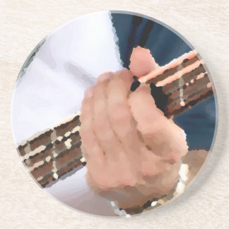 bass painterly player hand on neck male photograph beverage coasters