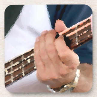 bass painterly player hand on neck male photograph drink coaster