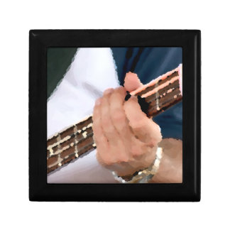 bass painterly player hand on neck male photograph trinket box