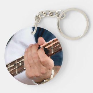 bass painterly player hand on neck male photograph keychain