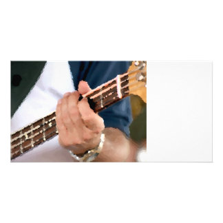 bass painterly player hand on neck male photograph picture card