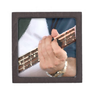 bass painterly player hand on neck male photograph premium keepsake box