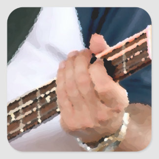 bass painterly player hand on neck male photograph sticker