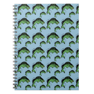 Bass Pattern Blue Spiral Notebook