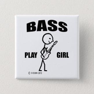 Bass Play Girl Pinback Button