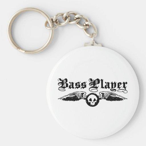 Bass Player Basic Round Button Keychain