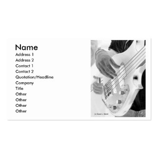 Bass player , bass and hand, negative image business card