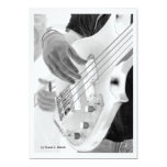 Bass player , bass and hand, negative image card