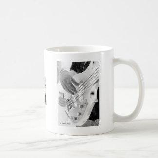 Bass player , bass and hand, negative image coffee mug