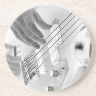 Bass player , bass and hand, negative image drink coaster
