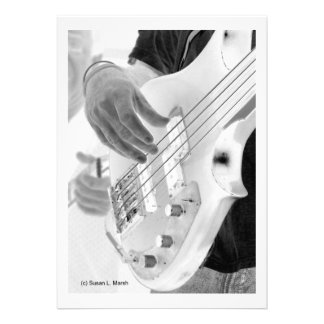 Bass player , bass and hand, negative image invites