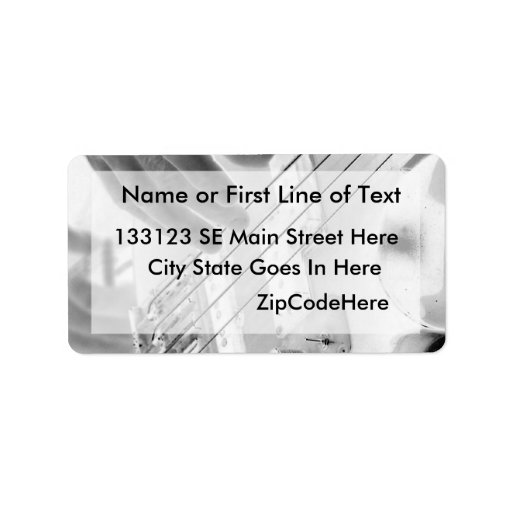 Bass player , bass and hand, negative image personalized address label