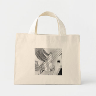 Bass player , bass and hand, negative image mini tote bag