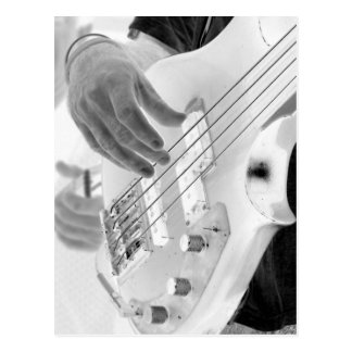 Bass player , bass and hand, negative image postcard