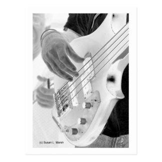 Bass player , bass and hand, negative image postcard