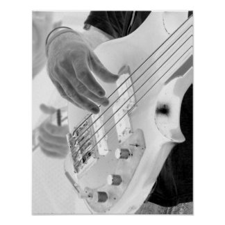 Bass player , bass and hand, negative image poster