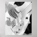 Bass player , bass and hand, negative image print