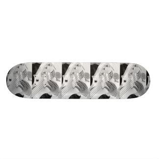 Bass player , bass and hand, negative image custom skateboard