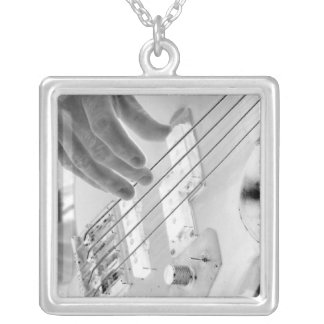 Bass player , bass and hand, negative image square pendant necklace