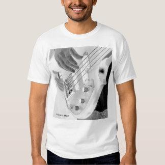 Bass player , bass and hand, negative image T-Shirt