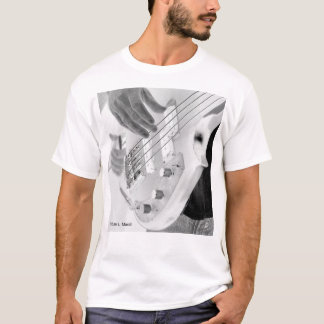 Bass player , bass and hand, negative image T-Shirt