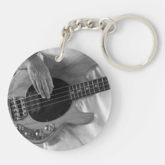 bass player bw four string bass hands drummer back Double-Sided round acrylic keychain
