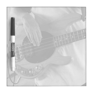 bass player bw four string bass hands drummer back Dry-Erase board