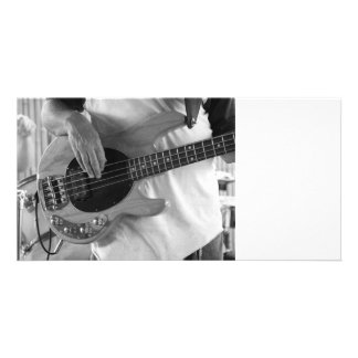 bass player bw four string bass hands drummer back personalized photo card