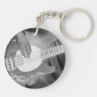 bass player bw invert four string bass hands drumm Double-Sided round acrylic keychain