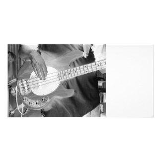 bass player bw invert four string bass hands drumm photo card
