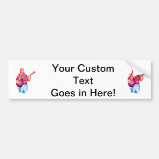 Bass Player, Colorful watercolour painting Car Bumper Sticker