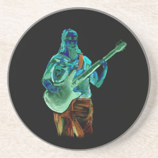 Bass player, done in neon colors on black back beverage coaster